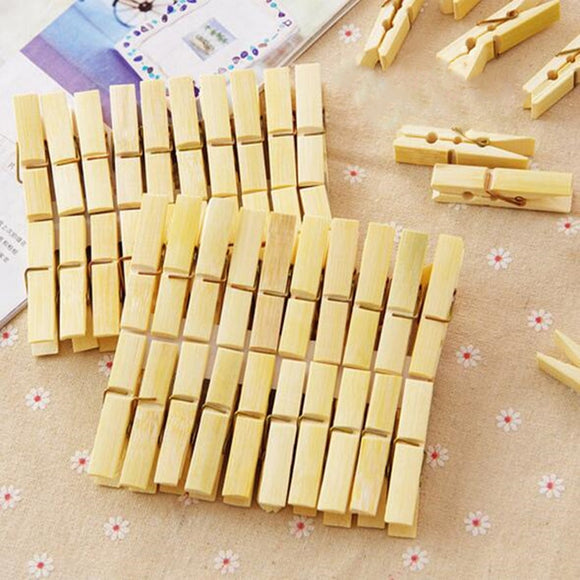 20pcs/lot Bamboo Wood Clothes Pegs - wayne-whale
