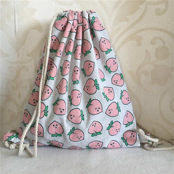 Cotton Linen Eco Drawstring Backpack - Pink Peaches - wayne-whale