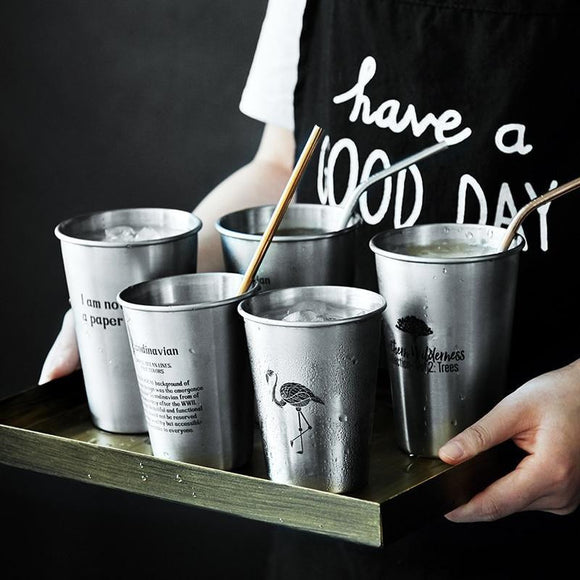 Stainless Steel Silver Cups and Straw - wayne-whale