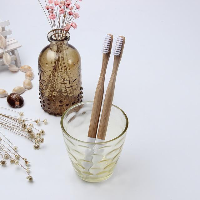 Multi-color Bamboo Toothbrush with Round Bamboo Handle