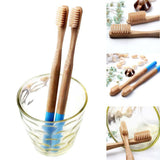 Multi-color Bamboo Toothbrush with Round Bamboo Handle - wayne-whale