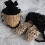Summer women's straw slippers - handmade - wayne-whale