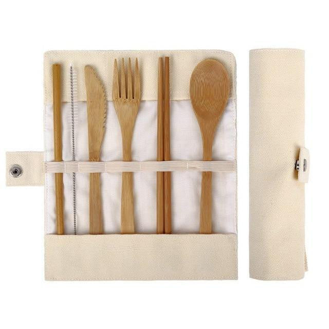 Organic Wood Travel Cutlery Set With Pouch