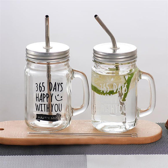 2pcs Mason Jar Mugs and Metal Straws - wayne-whale