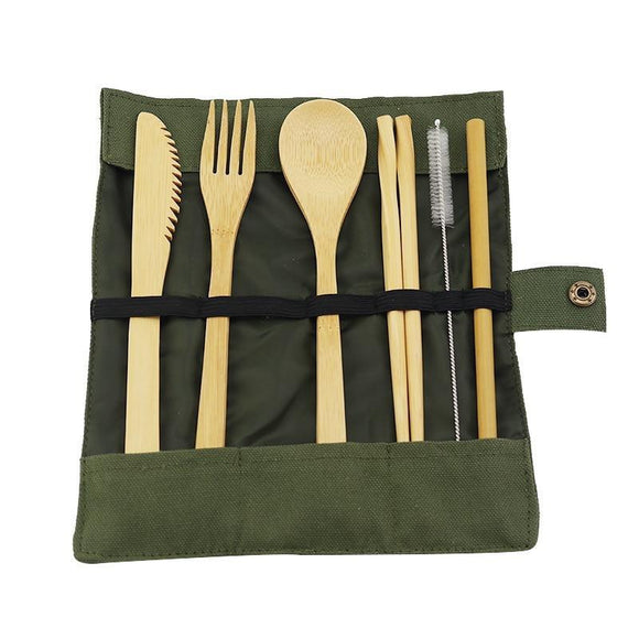 Organic Wooden Reusable Utensils - 7 Pieces travel Set - wayne-whale