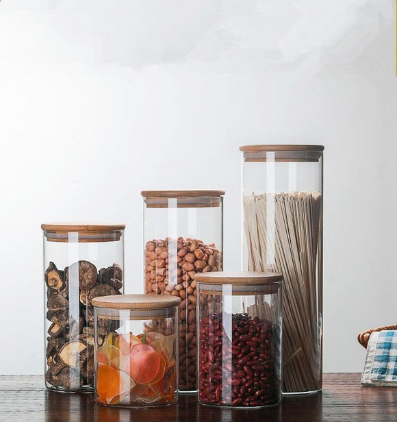 Glass Food Storage Bottle with Bamboo Cover - wayne-whale