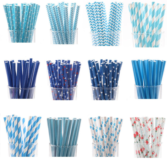 25pcs/lot Blue Paper Drinking Straws - wayne-whale