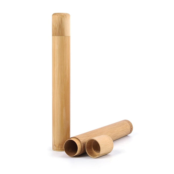Natural Bamboo Toothbrush Travel Tube - Handmade - wayne-whale