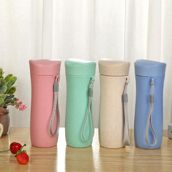 300mL Reusable Wheat Straw Drinking Cup - wayne-whale