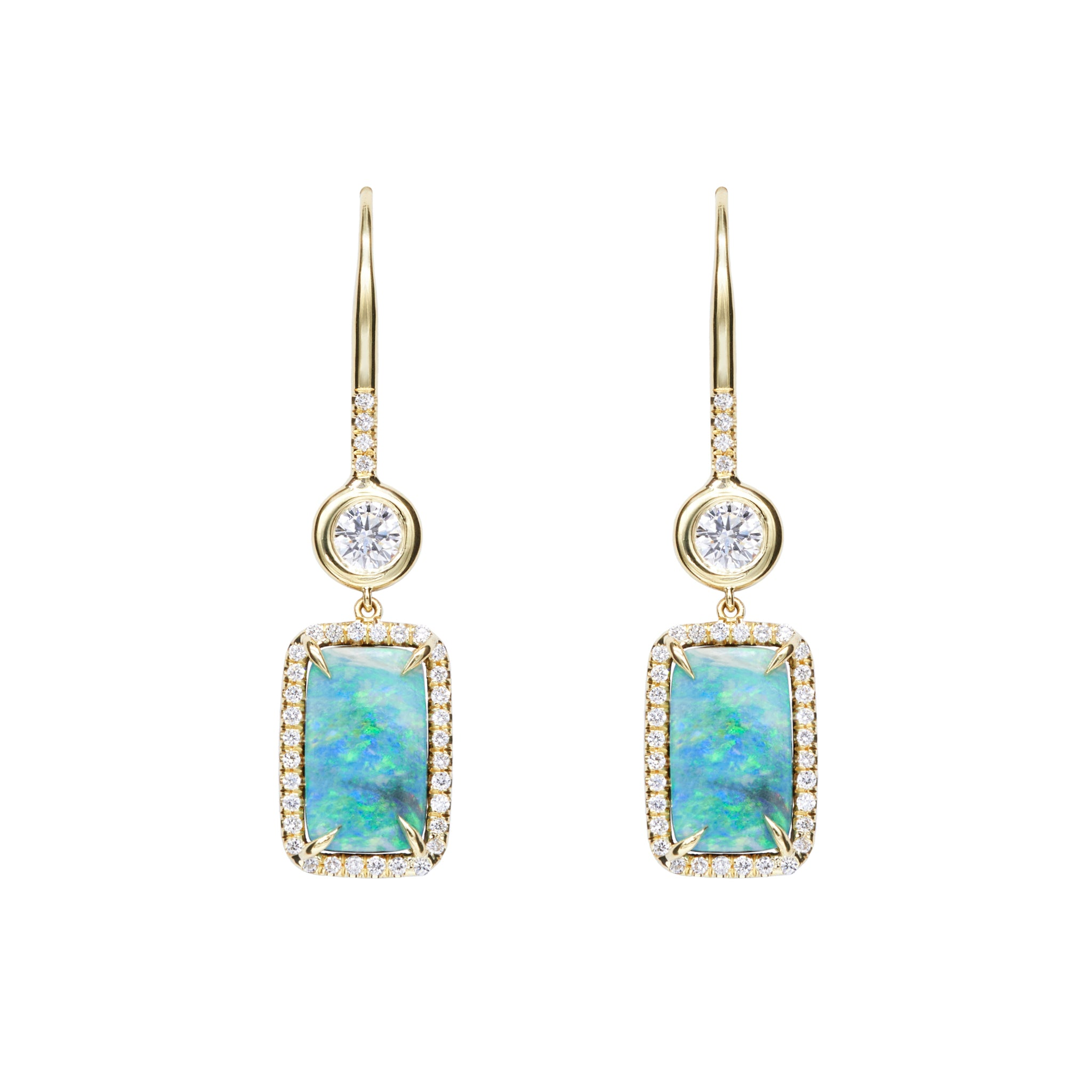 Drop Boulder Opal & Diamond Earring