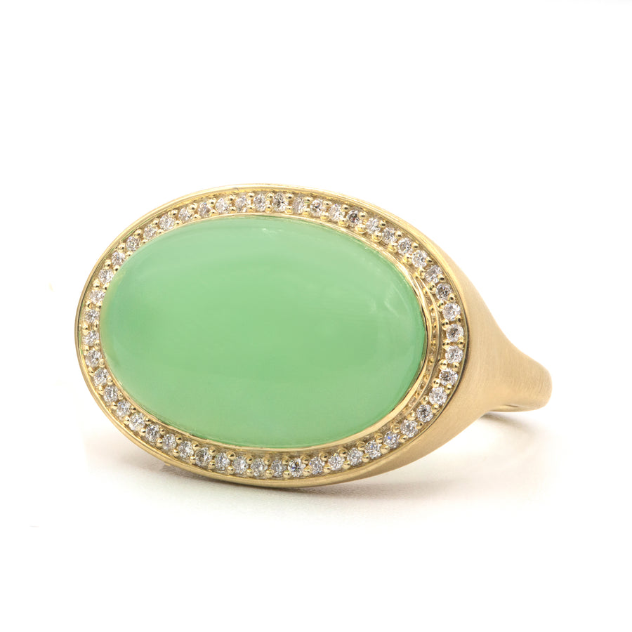 Chrysoprase & Diamond Ring - Oval