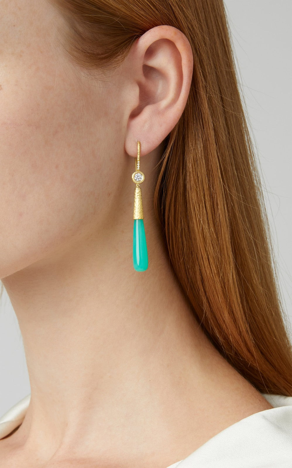 Chrysoprase & Diamond Briolette Earring
