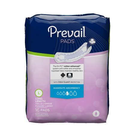 Bladder Control Pad Prevail® 11 Inch Length Moderate Absorbency Quick Wick™ Female Disposable