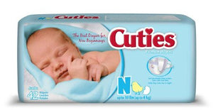 Baby Diaper Cuties® Tab Closure Newborn Disposable Heavy Absorbency