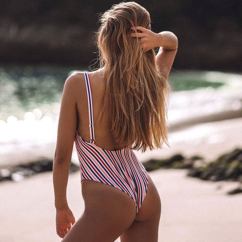 Multicolor Striped Low Back One Piece Swimsuit