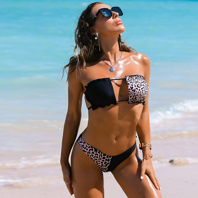 Animal Printed Cutout Front Ruffle Bandeau Bikini Two Piece Swimsuit