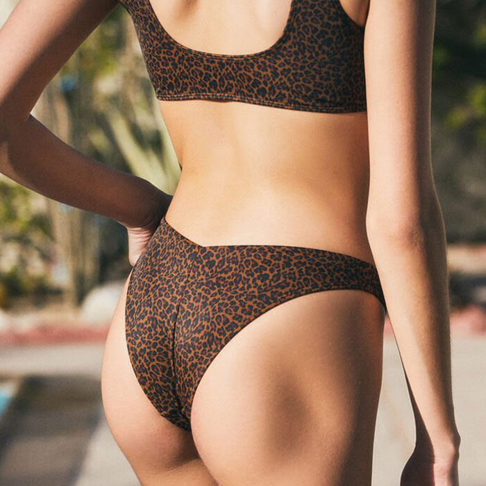 Animal Printed High Cut Buckle Front Tank Bikini Two Piece Swimsuit