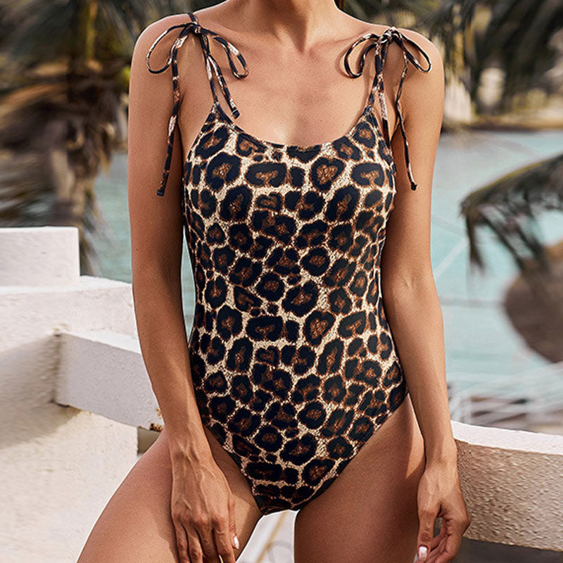 Animal Printed Tie String Scoop Neck One Piece Swimsuit