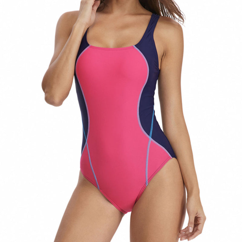 Athletic Color Block Stitching Scoop Neck One Piece Swimsuit