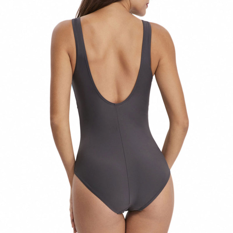 Athletic Color Block Suspender Strap Scoop Neck One Piece Swimsuit