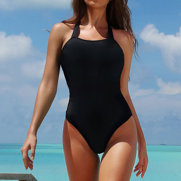 Athletic Contrast Color Halter One Piece Swimsuit