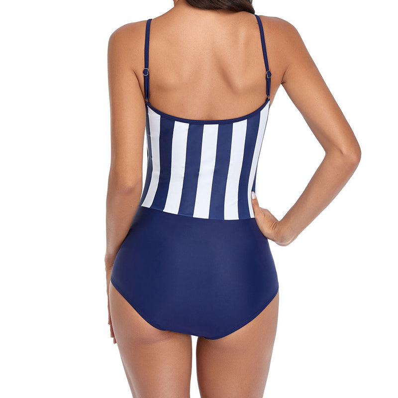Athletic Contrast Color Vertical Striped One Piece Swimsuit