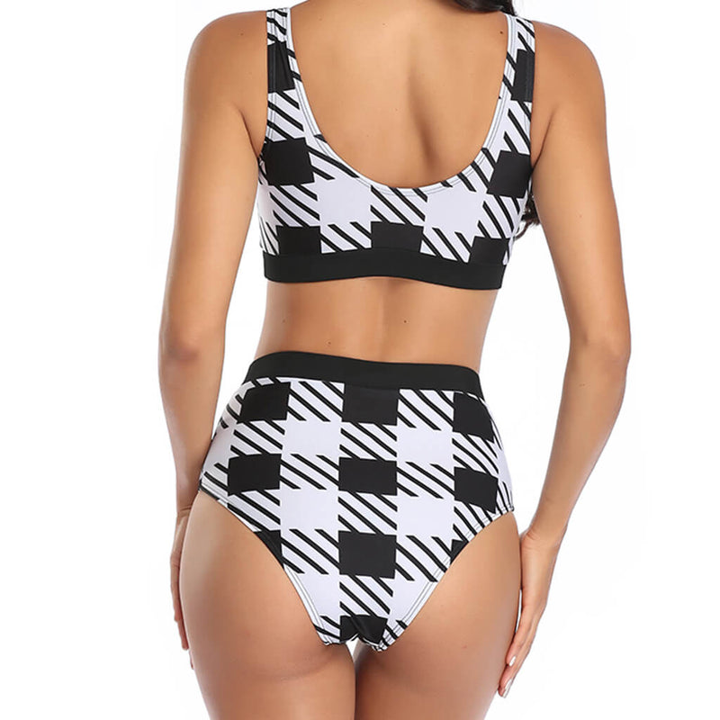 Athletic Contrast Printed High Waist Crop Bikini Two Piece Swimsuit