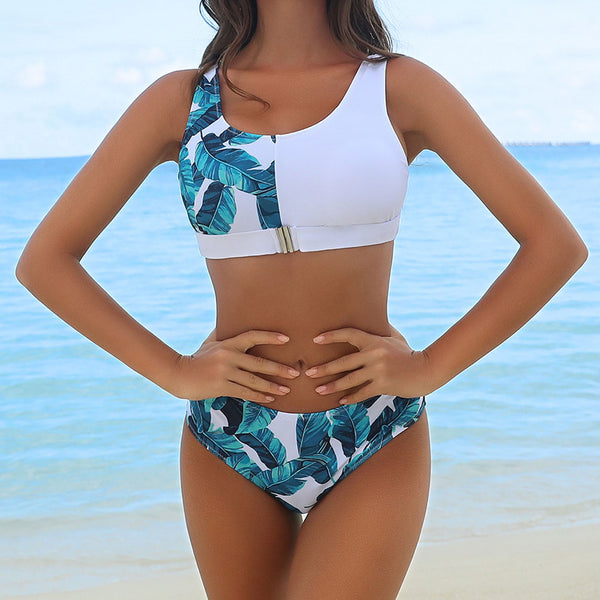 Athletic Contrast Tropical Printed Crop Bikini Two Piece Swimsuit