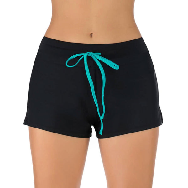 Athletic Drawstring Slit Side Boy Short Bikini Bottom