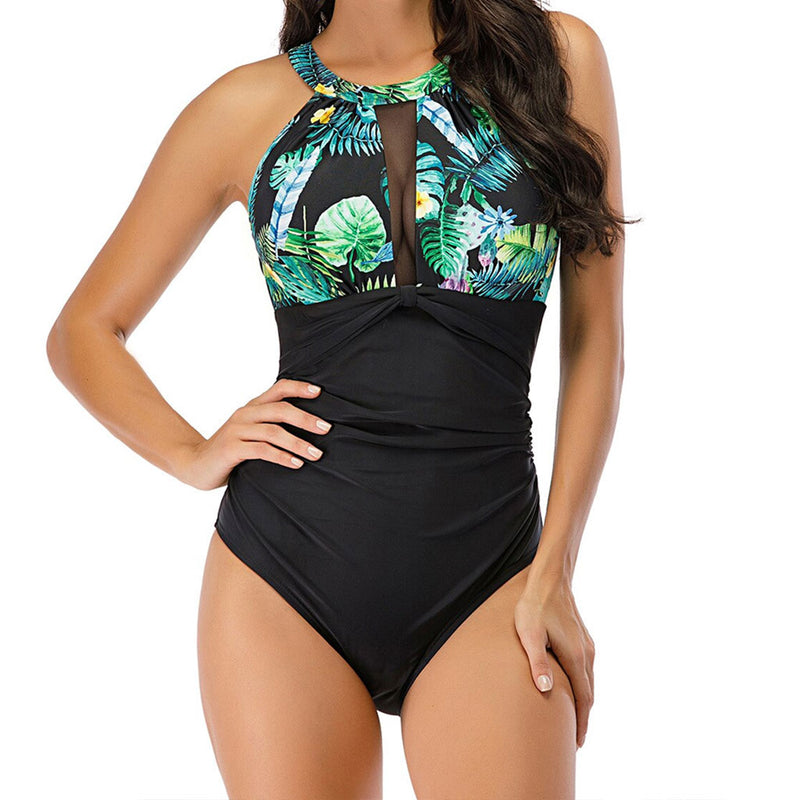 Athletic Printed Ruched Cutout Back High Neck One Piece Swimsuit