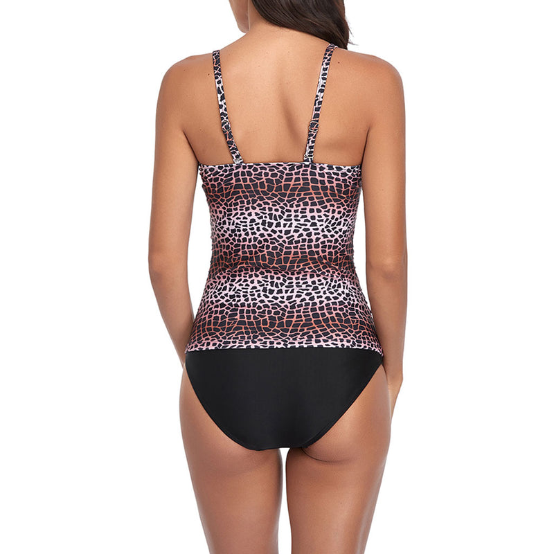 Athletic Printed Spaghetti Strap Ruched V Neck Tankini Two Piece Swimsuit