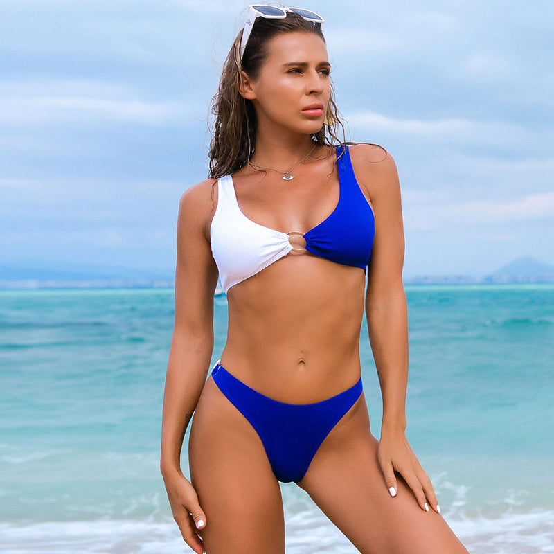 Athletic Ribbed Contrast Color Loop Front Bikini Two Piece Swimsuit