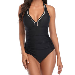 Athletic Ruched Contrast V Neck Halter One Piece Swimsuit
