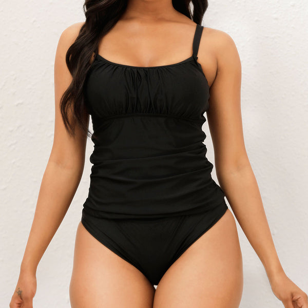 Athletic Solid Color Ruched Scoop Neck Tankini Two Piece Swimsuit