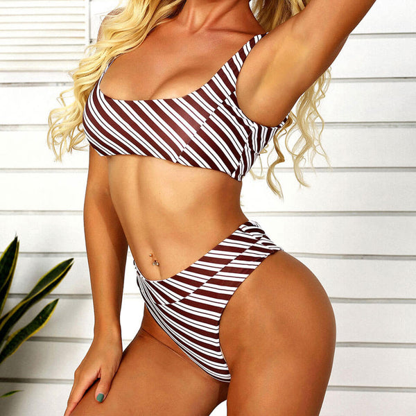 Athletic Striped Printed Bralette Bikini Two Piece Swimsuit