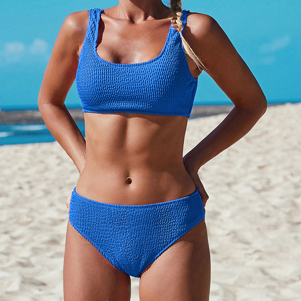 Athletic Textured Crop Bikini Two Piece Swimsuit