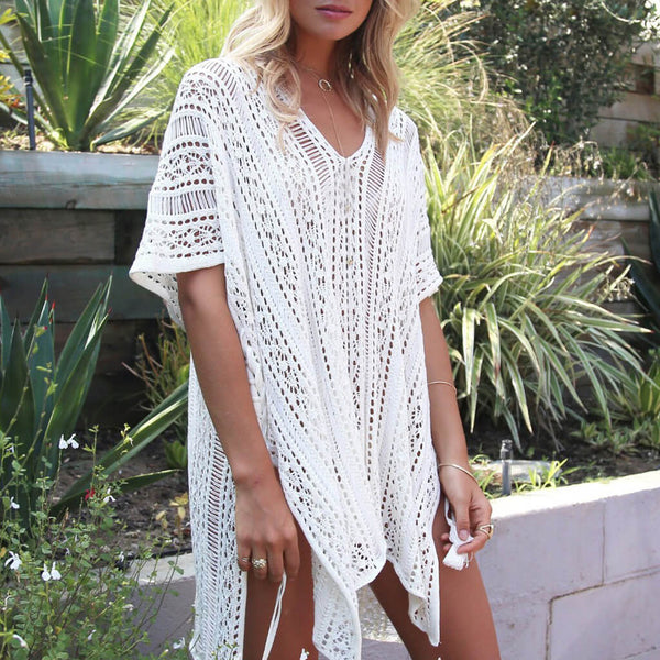 Batwing Sleeve Open Knit Asymmetric Crocheting Coverup Dress