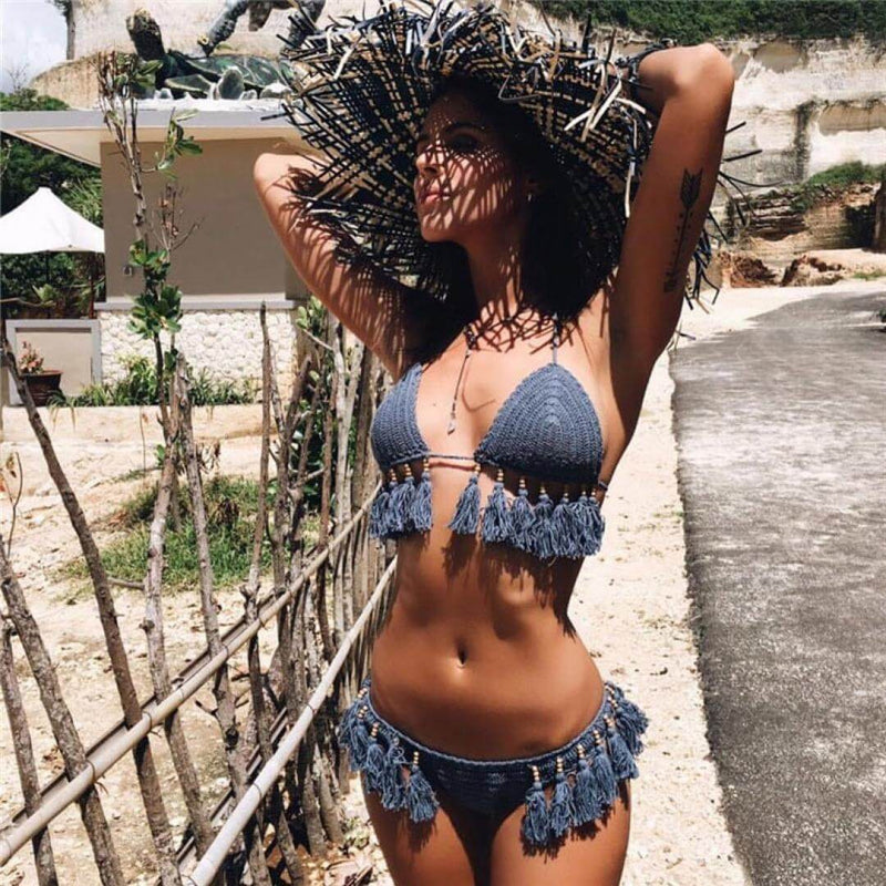 Beading Fringe Crochet Slide Triangle Bikini Two Piece Swimsuit