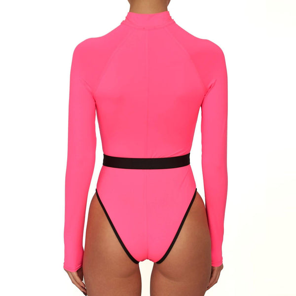Belted High Cut Long Sleeve Zippered Rash Guard One Piece Swimsuit