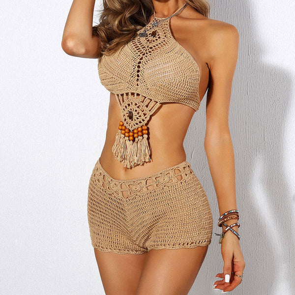 Boho Beading Fringe High Waist Crochet High Neck Bikini Two Piece Swimsuit