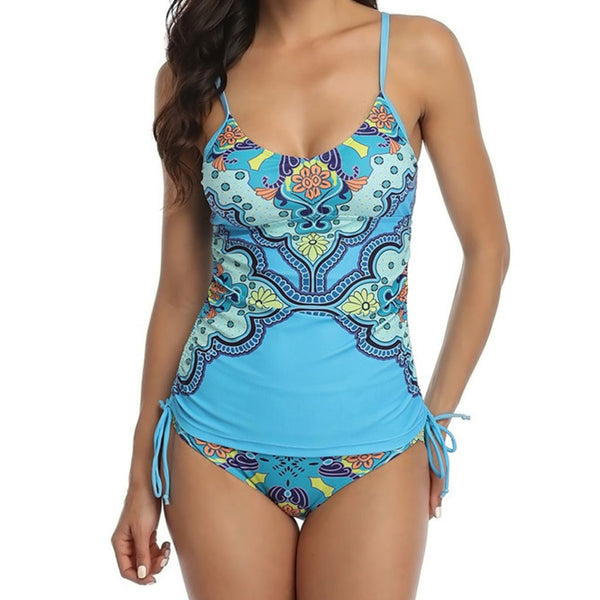 Boho Floral Drawstring Side Scoop Neck Tankini Two Piece Swimsuit