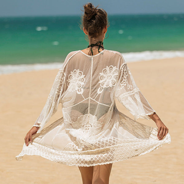 Boho Floral Pattern Sheer Lace Open Front Cover Up