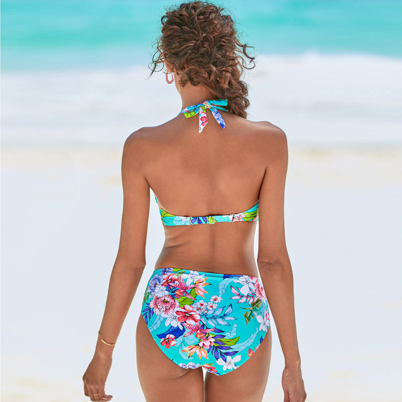 Boho Floral Printed Halter Bikini Two Piece Swimsuit