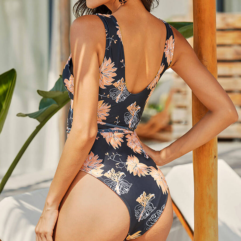 Boho Floral Tie String Deep V Cutout One Piece Swimsuit