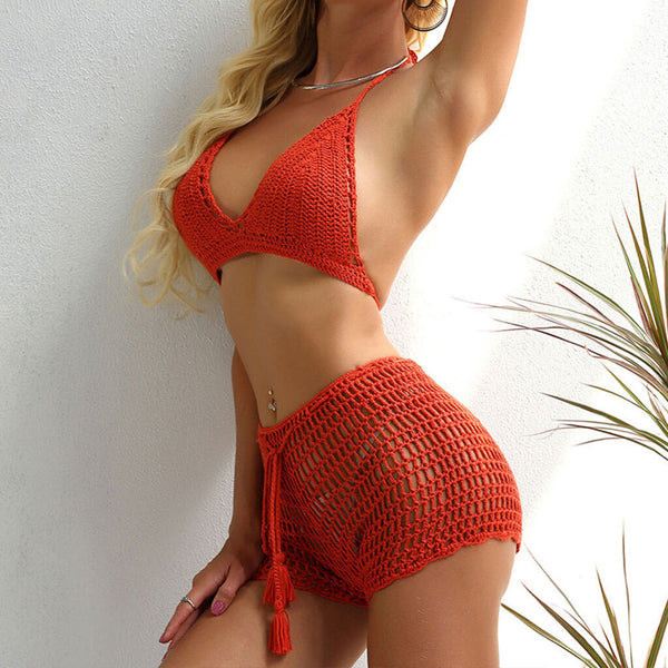 Boho High Waist Tie String Crochet Triangle Two Piece Cover Up Set