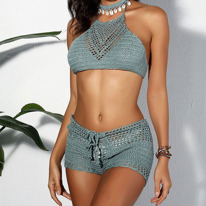 Boho Lace Up Crochet High Neck Two Piece Cover Up Set
