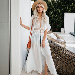 Boho Open Front Tie Strings Lace Long Coverup