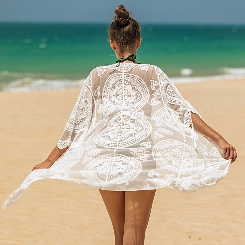 Boho Sheer Lace Elbow Sleeve Open Front Cover Up