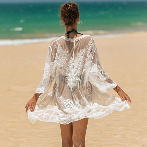 Boho Sheer Lace Feather Pattern Open Front Cover Up