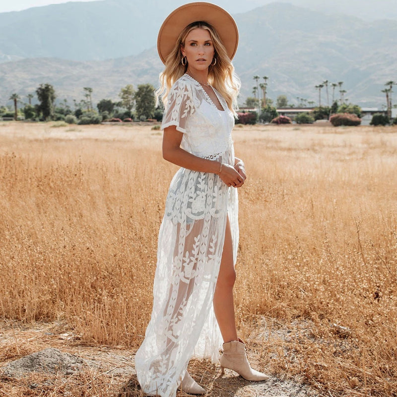 Boho Sheer Lace Open Front Tie Strings Long Coverup